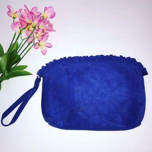 Vintage blue ultra suede ruffle clutch w/ strap